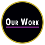Colorful black and gold circle with our work text inside above purple line