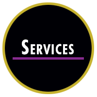 colorful black and gold circle with services text inside above purple line