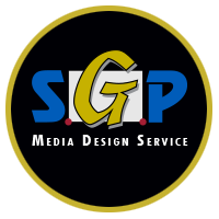 colorful sgp logo inside black and gold circle