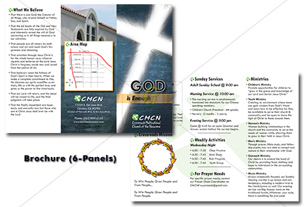 cmcn church 6-panel colorful brochure for advertisement