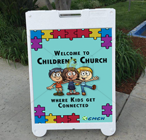 cmcn children's church welcome sign advertisement