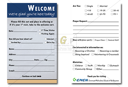 cmcn church welcome card for visitors to fill-out