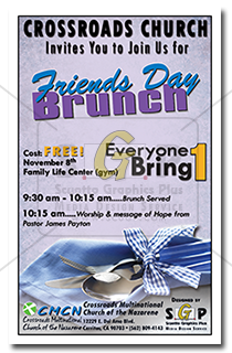 cmcn colorful friends day brunch event poster advertisement