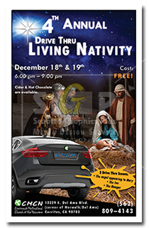 cmcn colorful drive thru living nativity event poster advertisement