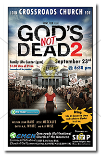 cmcn colorful gods not dead 2 movie night event poster advertisement