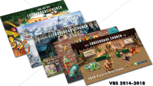 cmcn colorful vocational bible school (vbs) event postcards advertisements