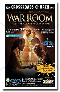 cmcn colorful war room movie night poster advertisement
