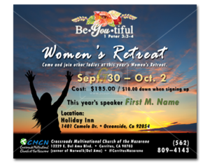 cmcn colorful women's ministry retreat 2016 event slide advertisement