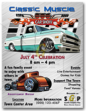 colorful classic muscle car show flyer advertisement