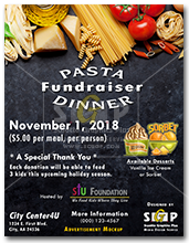 colorful pasta fundraiser dinner flyer advertisement
