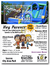 colorful summer fun for kids flyer advertisement