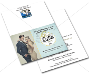 Swanky sixties colorful invitation advertisement